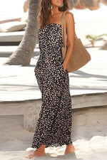 Holiday Floral Print Strapless Pockets Maxi Dress