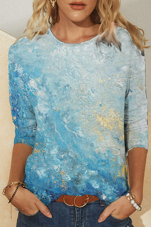 Artistic Abstract Blue Gradient Print Shift T-shirt