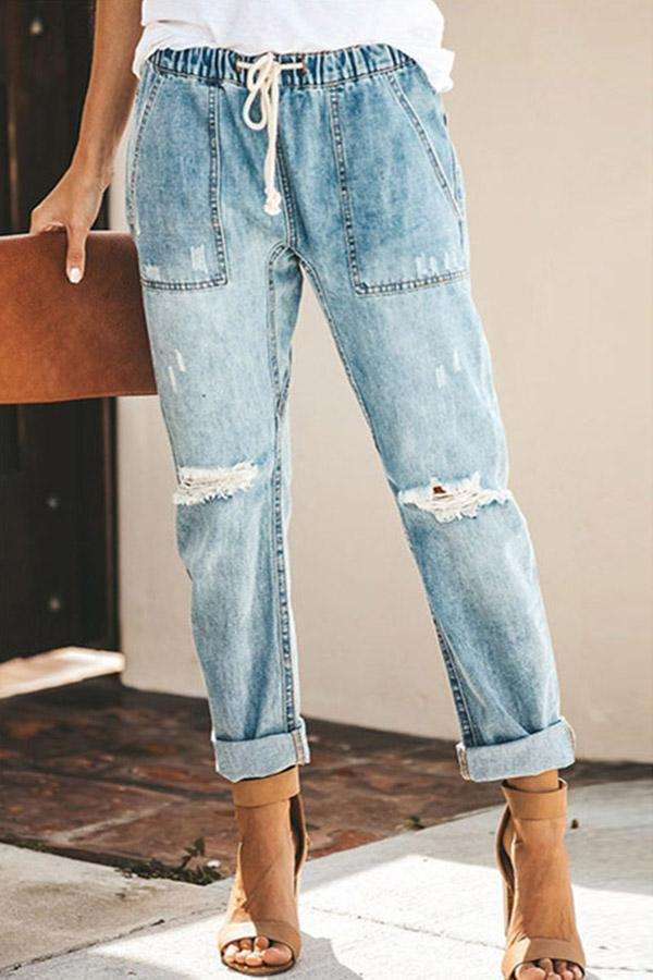 Denim Ripped Hole Elastic StraightJeans Pants
