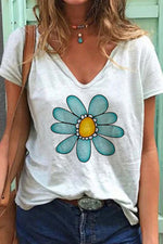V-neck Short Sleeves Floral Print Casual T-shirt