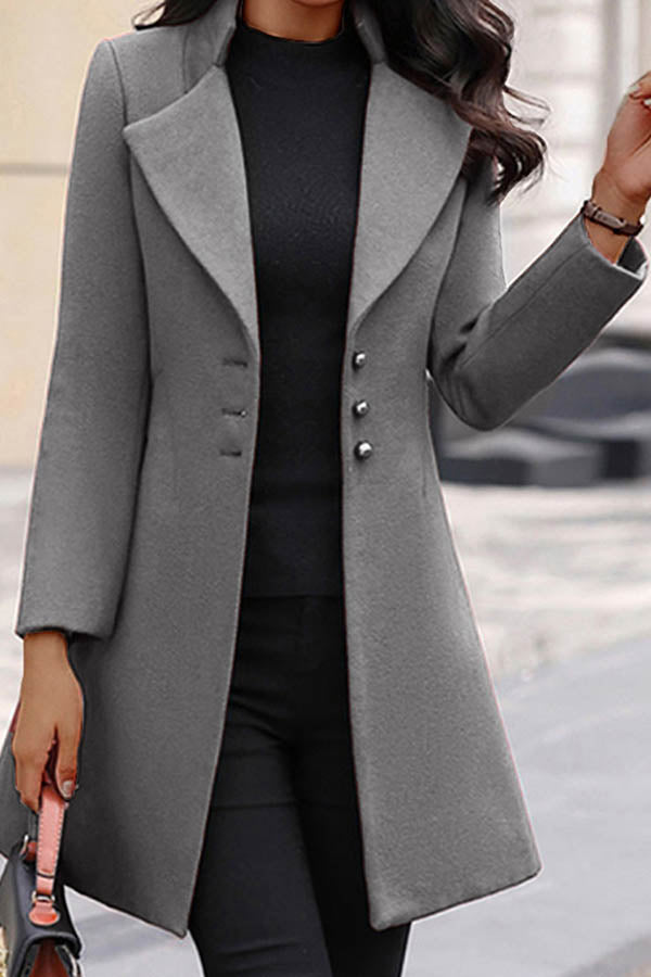 Temperament Solid Buttoned Lapel Collar Long Coat
