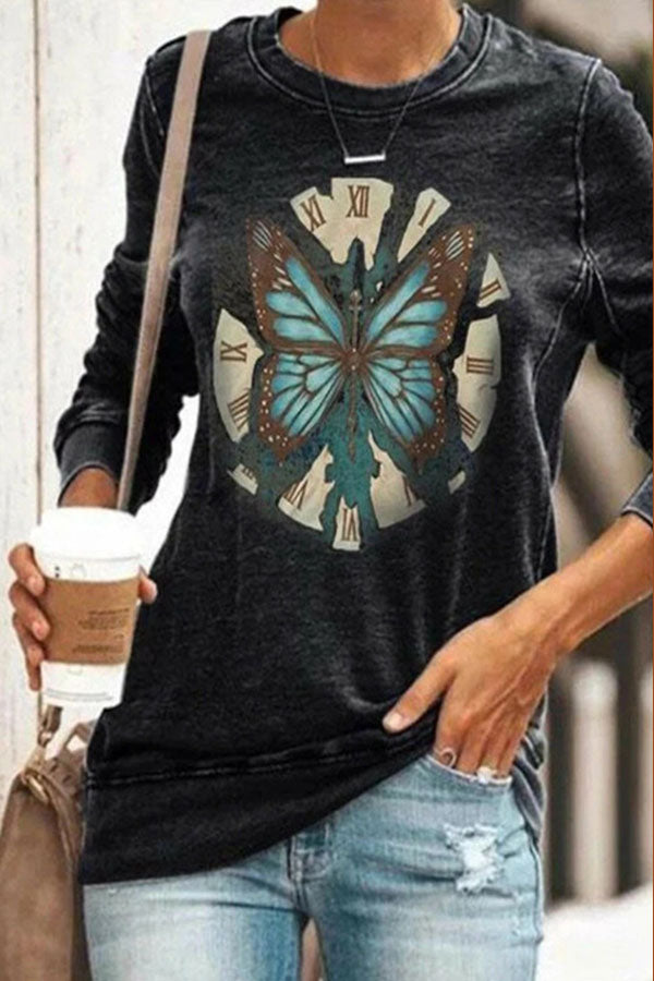 Lifelike Butterfly Ancient Clock Print Casual T-shirt