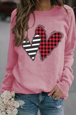 Plaid Heart With Striped Heart Print Sweety Crew Neck Sweatshirt