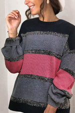 Women Holiday Striped Jacquard Color-block Ribbed Knitted Sweater