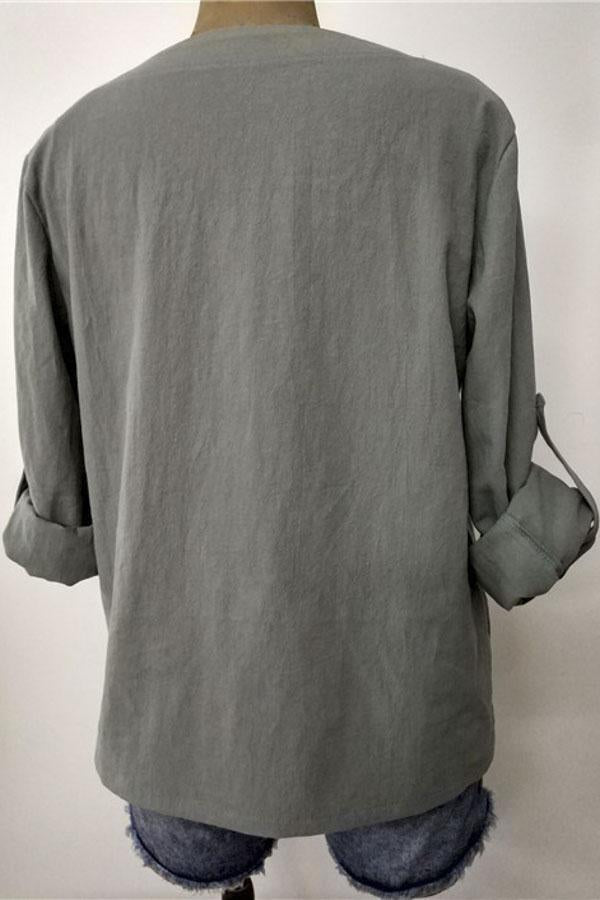 Linen Adjustable Sleeves Casual Blouse