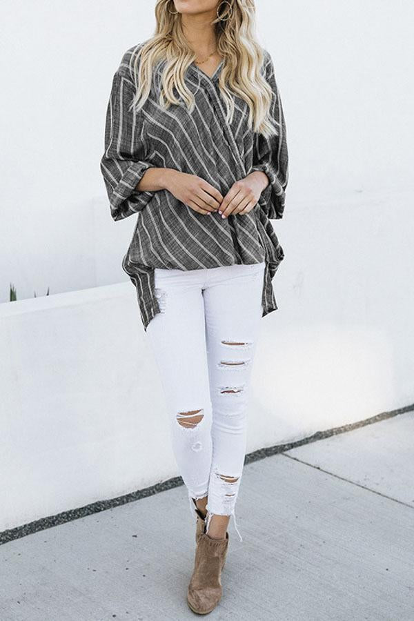 Linen Cross Front Irregular Stripe Blouse