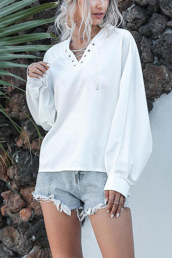 Solid Cross Front V-neck Balloon Sleeve Shirt
