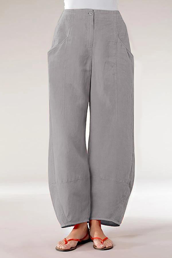 Casual Side Pockets Solid Pants