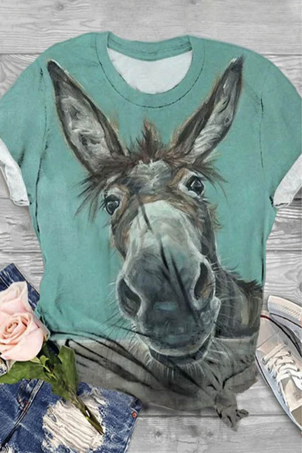 Cartoon Donkey Print Paneled Casual Short Sleeves T-shirt
