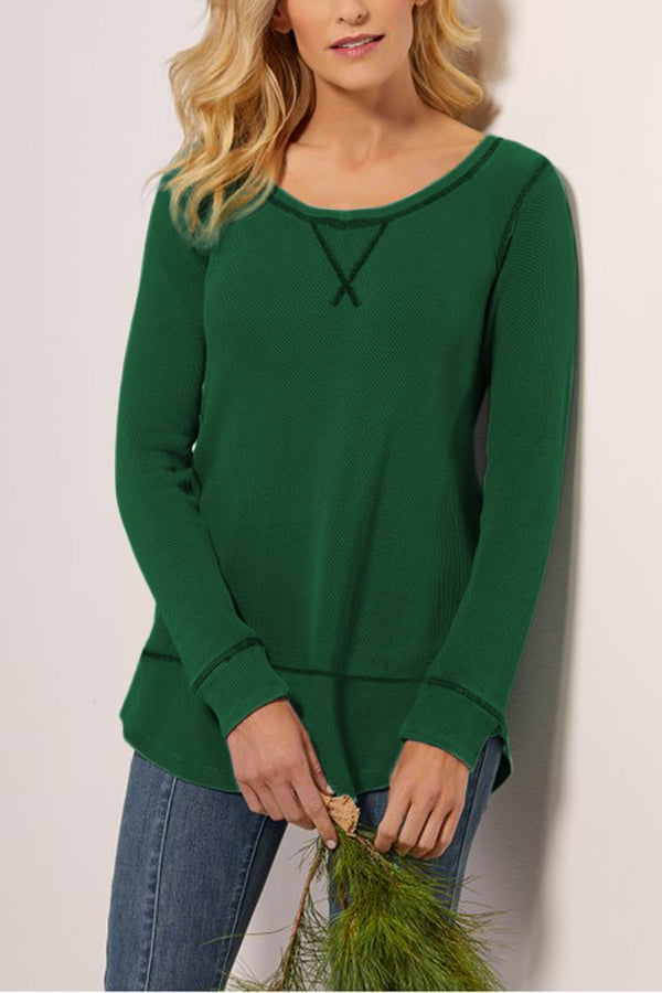 Casual Round Neck Solid Irregular T Shirt
