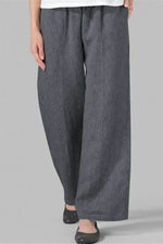 Women Vintage Solid Paneled Side Pockets Wide Leg Pants