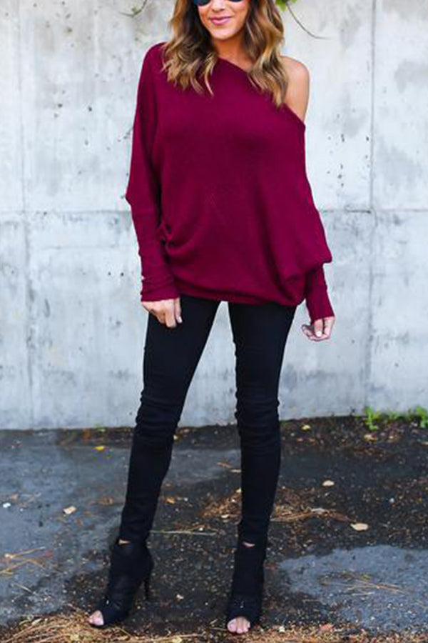 Casual Solid One Shoulder Bat Sleeves Sweater