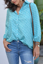 Elegant Graphic Print Paneled Buttoned Balloon Sleeves Blouse