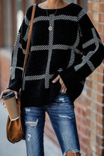 Women Black And White Plaid Jacquard Knitted Ribbed Simple Sweater