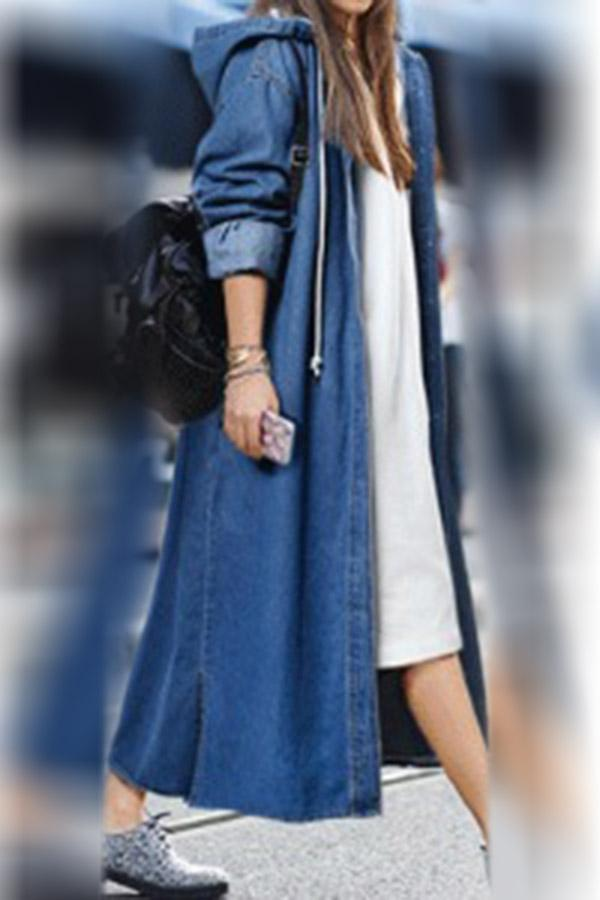 Button Down Slit Side Hoodie Denim Coat