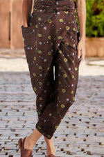 Asymmetric Self-tie Vintage Floral Print Paneled Pockets Harem Pants