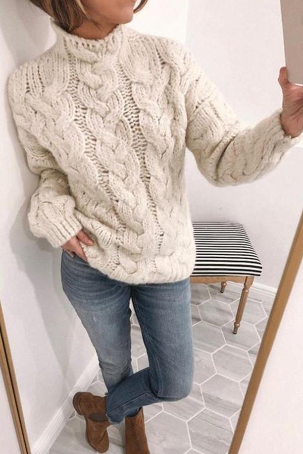 Solid Ribbed Tweed Turtleneck Casual Sweater