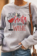Dear Santa Just Bring Wine Letter Wine Glass Snowflake Heart Print Christmas T-shirt