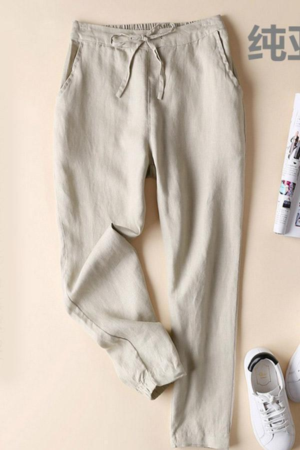 Self-tie Solid Side Pockets Pants