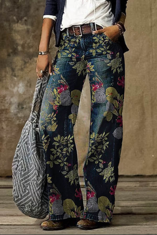 Women Floral Leaf Print Vintage Paneled Pockets Wide Leg Jeans