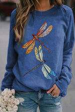 Gradient Lifelike Dragonfly Print Crew Neck Casual T-shirt