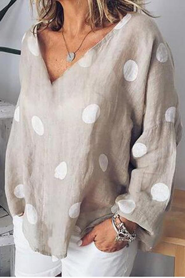 Casual Dots Print V Neck Blouse