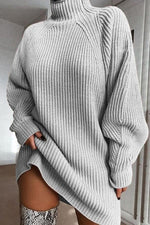 Casual Solid Puff Sleeves Knitted Midi Dress