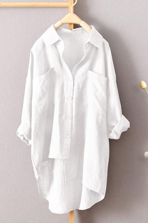 Linen High Low Solid Pockets Blouses