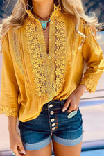 Floral Lace Paneled Hollow Out Buttons Down Casual Blouse