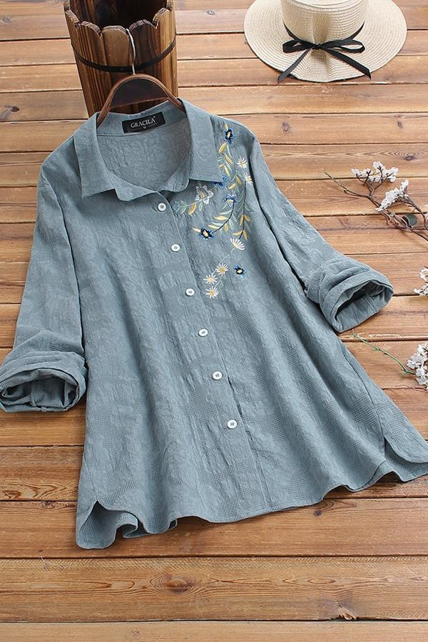 Shirt Collar Embroidery Floral Buttoned Blouses