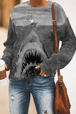 Shark Print Casual Paneled Crew Neck Sweatshirt