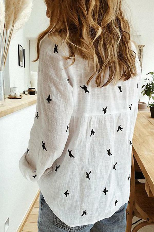 Bird Print Buttons Down Shirt Collar Casual Shirt