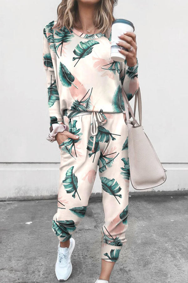Casual Leaf Print T-shirt With Pants Two-Pieces Set