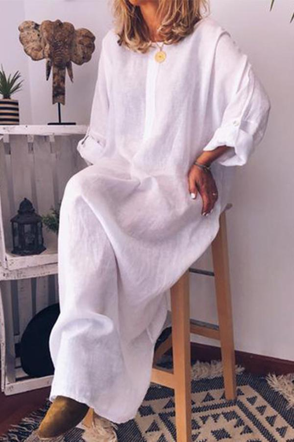 Linen Solid Loose Adjustable Long Sleeves Maxi Dress