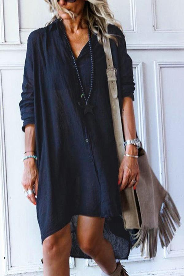 Button Loose Long Sleeves Casual Midi Dress