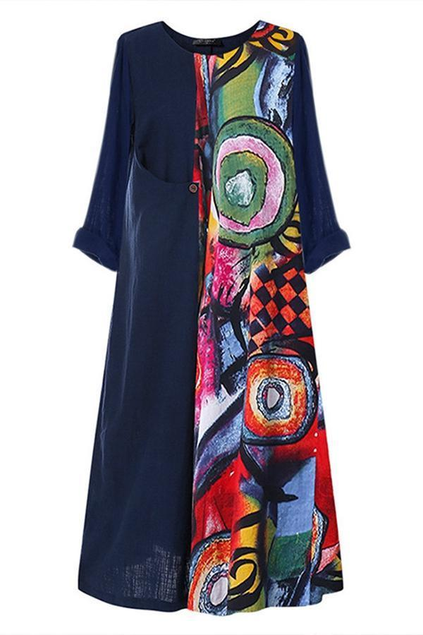 Stitching 3/4 Sleeve Linen Maxi Dress