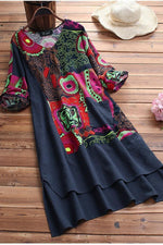 Vintage Print Half Sleeves Loose Linen Dress