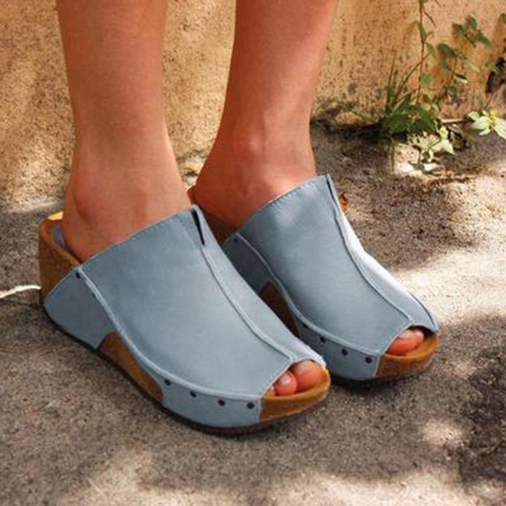 Peep Toe Slip-on PU Wedge Sandals