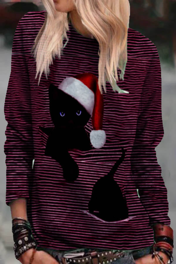 Cartoon Black Cat With Christmas Hat Stuck In Stripe Print Casual T-shirt
