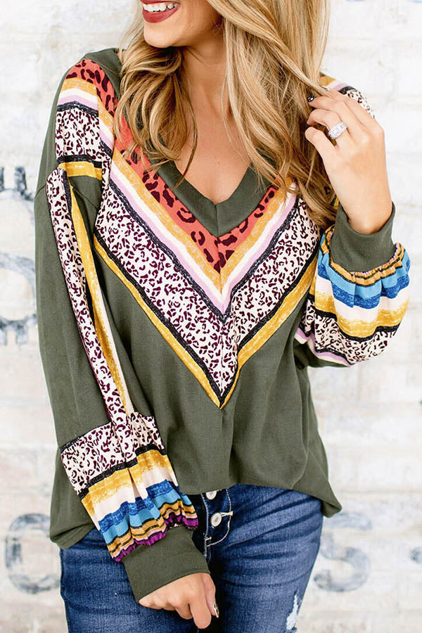 Sweety Striped Leopard Print V-neck Long Sleeves Blouse