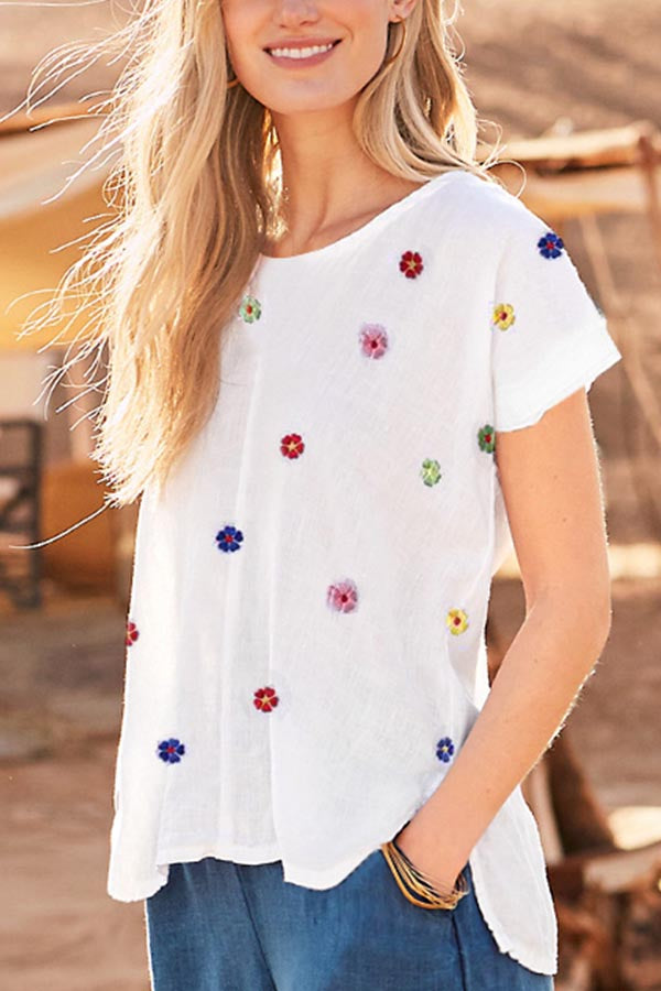 Casual Floral Embroidery Crew Neck Short Sleeves T-shirt
