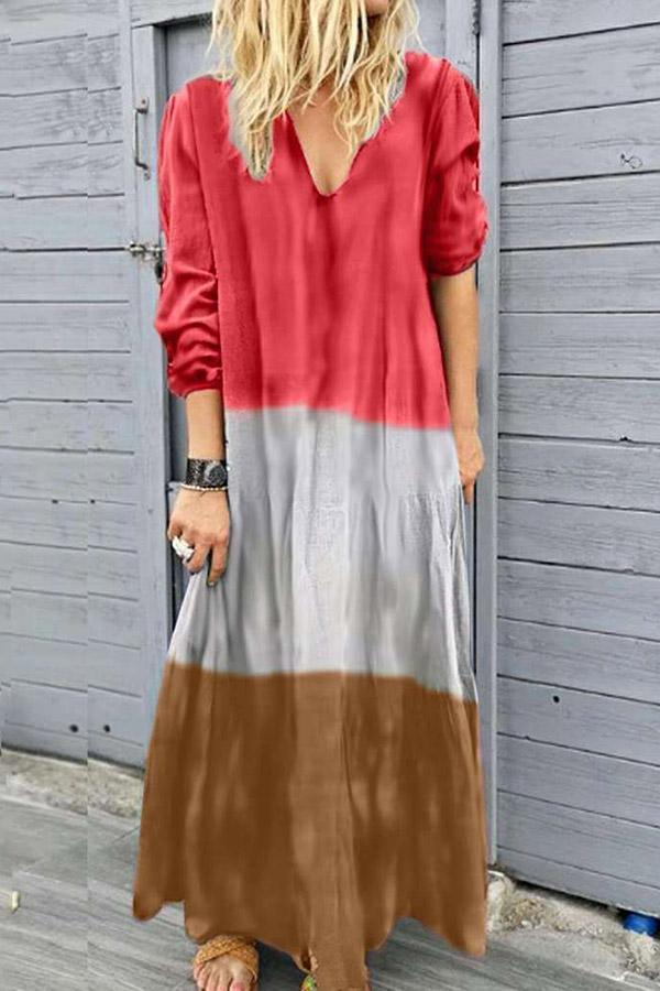Gradient Solid Color-block Maxi Dress
