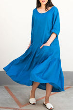 Paneled Solid Buttoned Pockets Casual Maxi Dress