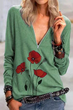 Daily Floral Print Zipper Front V-neck Long Sleeves Blouse