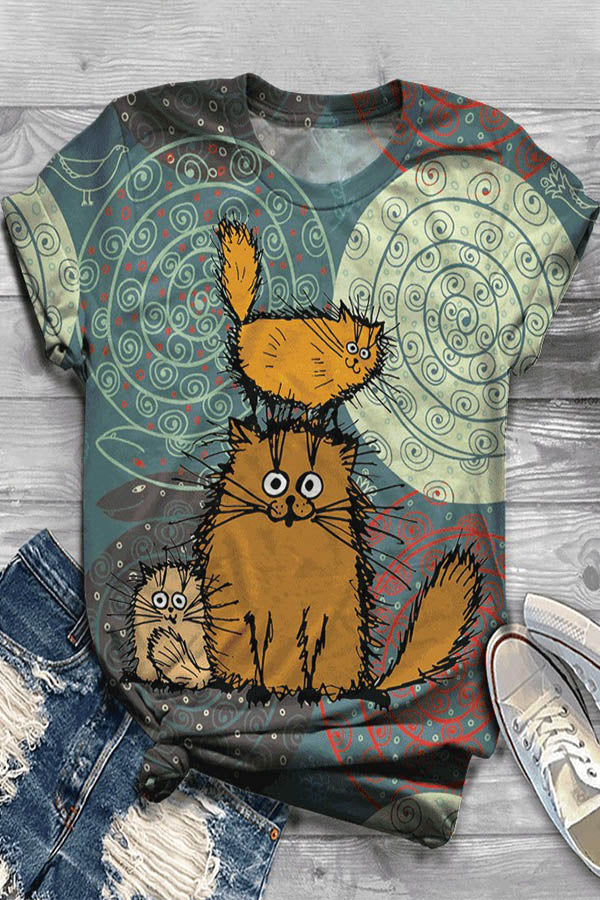 Paneled Cartoon Cat Print Short Sleeves Casual T-shirt