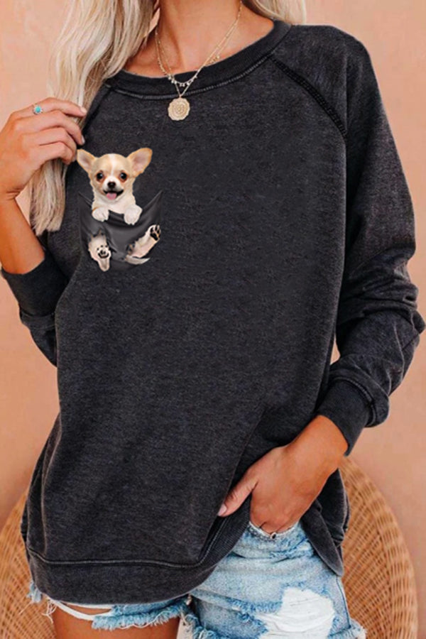 Lively Lovely Cub Dog Within Pocket Print Raglan Sleeves T-shirt