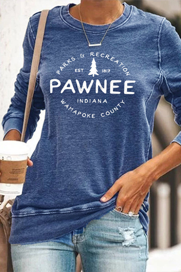 Pawnee Letter Tree Print Casual Paneled Crew Neck T-shirt