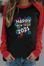 Happy New Year 2021 Letter Colorful Fireworks Print Raglan Sleeves Color-block T-shirt