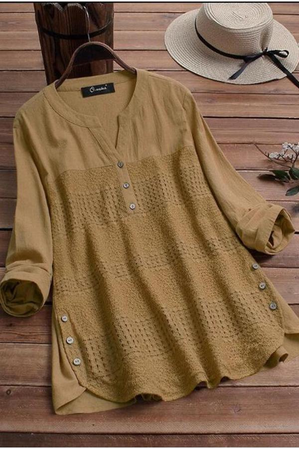 Lace Stitching Button Long Sleeve Blouse