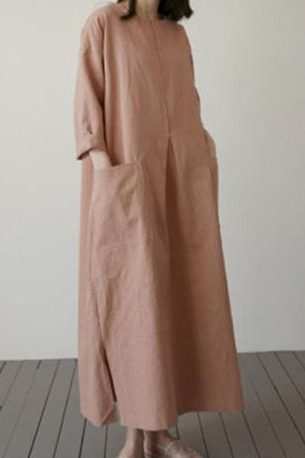 Solid Loose Shift Pockets Slit Casual Maxi Dress